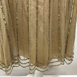 Dana Buchman Skirts - Dana Buchman Gold Sand Beaded Layered Skirt Sz 12